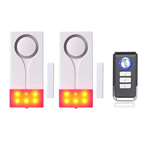 Mengshen Tür- Und Fensteralarm - Funkalarm Mit 105 db Lautem Ton Und Hellem Licht, (2 Alarm Und 1 Fernbedienung)