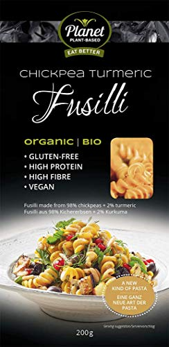 PLANET PLANT-BASED - Kichererbsen Fusilli mit Kurkuma /100% Natürlich / Kichererbsen Pasta / Vegane Nudeln / Chickpea / Bio Nudeln / High Protein / Glutenfreie Pasta