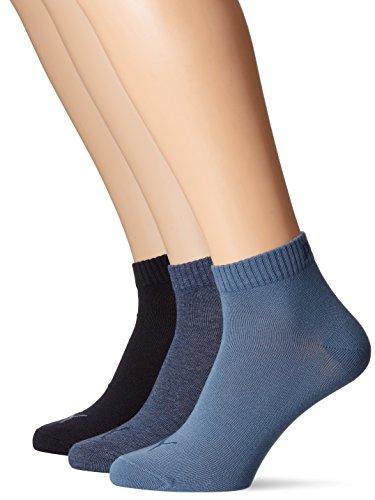 PUMA Plain 3P Quarter Socke, Blau (Denim Blue), 43-46