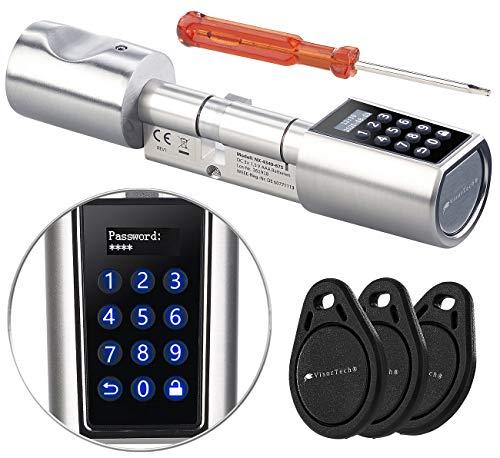VisorTech Türschloss elektrisch: Elektronischer Tür-Schließzylinder, Transponder-Schlüssel, Zahlen-Code (Elektronisches Türschloss)