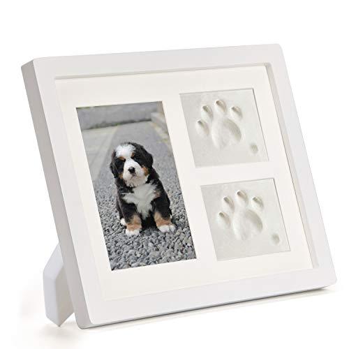 DISITO Pfotenabdruck Set Hund und Katze,Holz Bilderrahmen,3D Gipsabdruck - Andenkenbox, Wanddekoration für