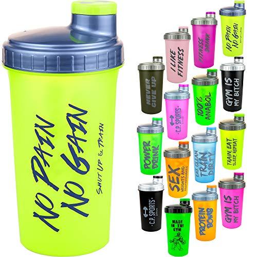 C.P. Sports Eiweiß Shaker mit herausnehmbaren Sieb & Schraubverschluß 700ml, Protein Shaker, Mixer (Neonpink-Gym)