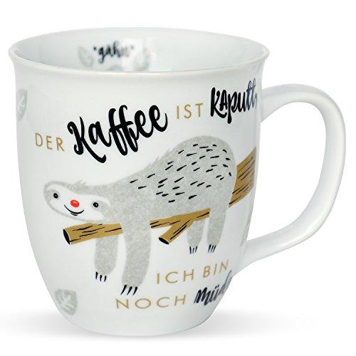 H:)PPY life 45180 Kaffeetasse mit Spruch Faultier, Geschenk-Tasse, Porzellan, 40 cl
