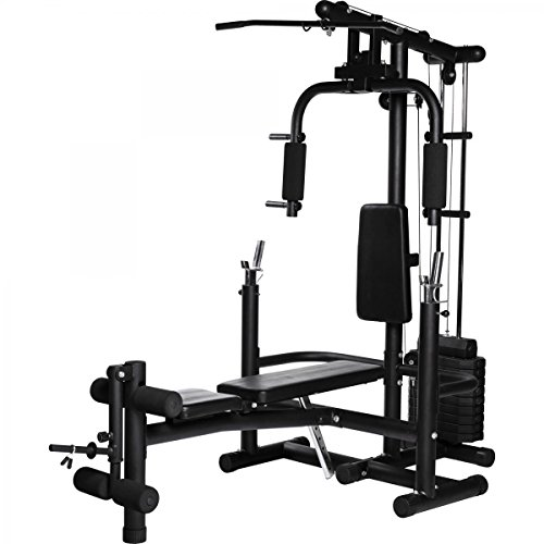 GORILLA SPORTS Extended Home Gym Multistation Multifunktions Kraftstation Hantelstation schwarz mit Butterfly, Latzugmachine, Hantelablage und Beinstrecker