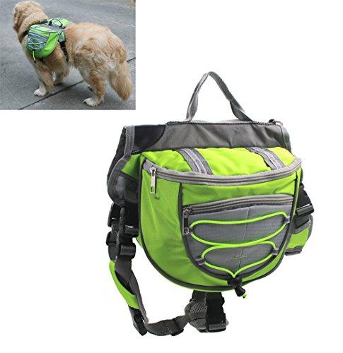 Xiaoyu Hund Rucksack, verstellbare Satteltasche Kabelbaum Träger, für Reisen Wandercamping, grün, S