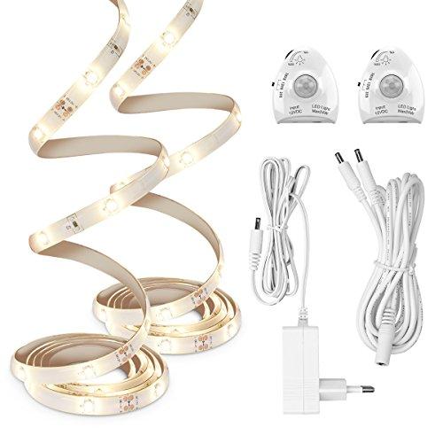 kwmobile LED Bettlicht mit Bewegungsmelder - Bett Lichtleiste Nachtlicht Streifen dimmbar - Bewegungssensor Licht Leiste - Baby Beleuchtung warmweiß