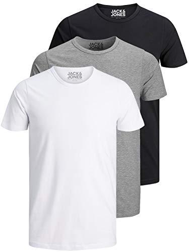 Jack and Jones Herren T-Shirt Basic Rundhals 3er Pack Einfarbig Slim Fit in Weiß Schwarz Blau Grau  (S, 3er Pack O Farbmix)
