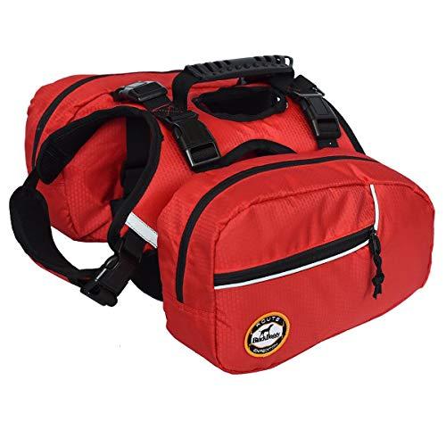smartelf Hunderucksack,Satteltasche für Hunde,Reisen Outdoor Camping Wandern Rucksack,Pet Hund Rucksack, für mittel & Groß Hunde,L-Rot