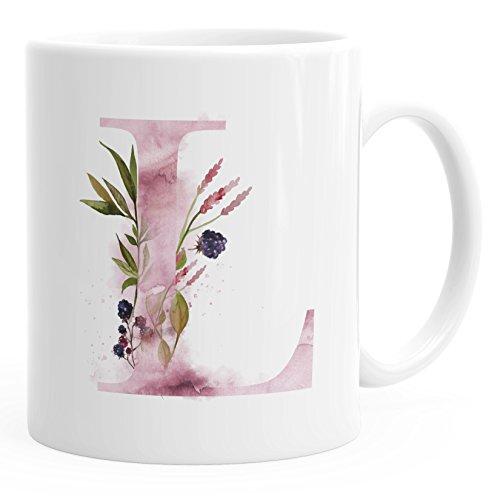 Autiga Buchstaben-Tasse L Tasse mit Buchstabe Alphabet Monogramm Watercolor gezeichnet Kaffeetasse weiß Unisize