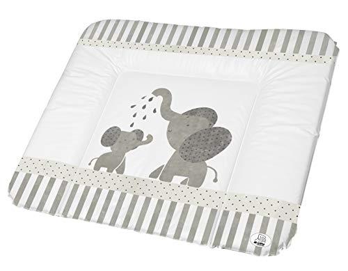 Rotho Babydesign Wickelauflage, Ab 0 Monate, Modern Elephants, Bella Bambina, Weiß/Grau, 72 x 85 cm, 200620001CG