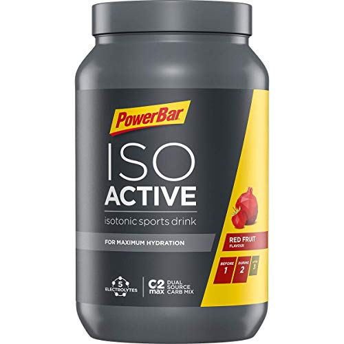 PowerBar Isoactive Red Fruit 1320g - Isotonisches Sportgetränk - 5 Elektrolyte + C2MAX
