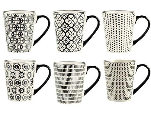 H&H Vhera 6er Set Becher Mug, Stoneware, 350 ml, Schwarz/Weiß