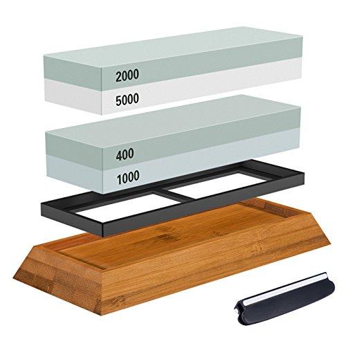 Schleifstein Set, der Schleifstein 2-in-1-400/1000 Körnung 2000/5000, Wasserstein Holz Halter und Messer-Guide enthalten