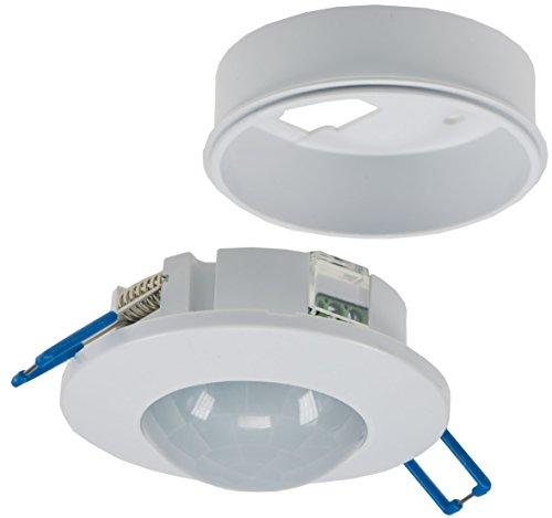 Decken Einbau Bewegungsmelder 360° flach LED geeignet einstellbar 6m Detektion weiß 230V I Mit Aufbaurahmen
