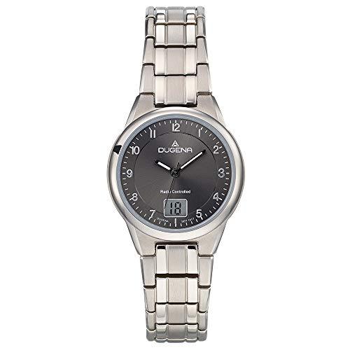 Dugena Damen Funk-Armbanduhr, Allergikerfreundliches Titan, Gehärtetes Mineralglas, Gent Funk, Silber, 4460836