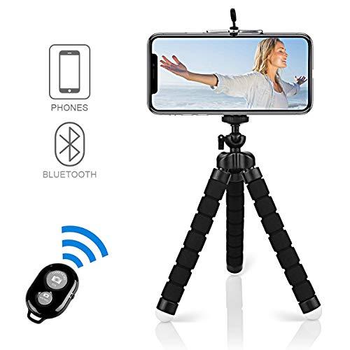 Handy Stativ, Alfort Smartphone Stativ Flexibel Mini Dreibeinstativ Universal Handy Halterung Halter Kamera Ständer mit Bluetooth Fernsteuerung Shutter für Samsung, iPhone, Huawei, Sony (Schwarz)