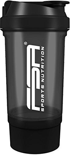 Protein Shaker mit Pulverfach für cremige Shakes mit Siebeinsatz und Behälter, BPA frei und auslaufsicher von FSA Nutrition – Schwarz