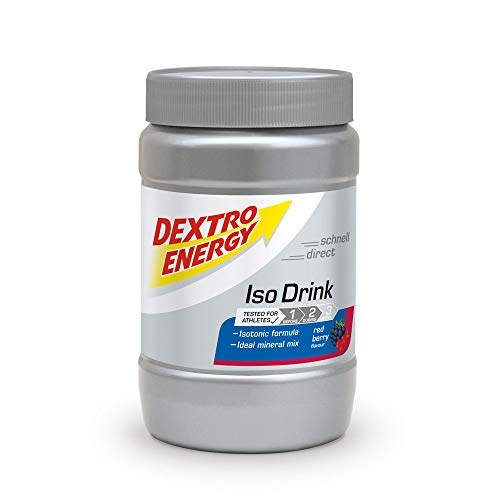 Isotonisches Sportgetränk Pulver von Dextro Energy / Red Berry Geschmack / 440g Isotonisches Pulver mit Elektrolyten / Für 11 Isotonische Getränke