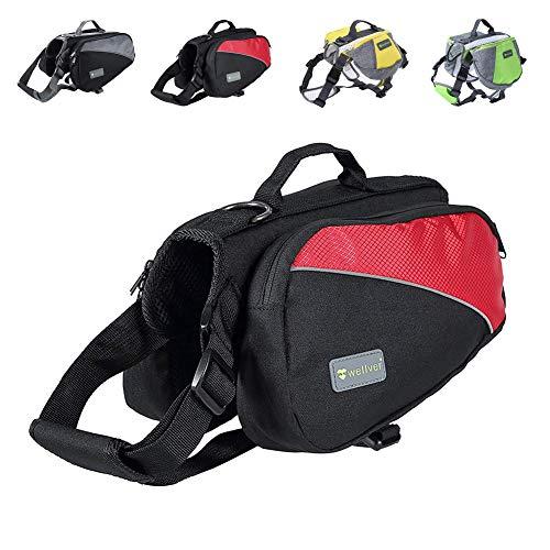 Wellver Hunde-Rucksack, Satteltasche, Reise-Packs für Wandern, Walking, Camping, Small, Rot/Schwarz