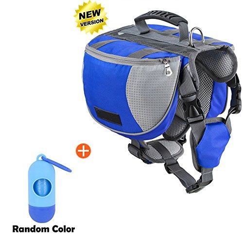 Lifeunion verstellbarer Service Hund Rucksack Satteltasche für Camping Wandern Training, Blaues Rucksack-Set, Large
