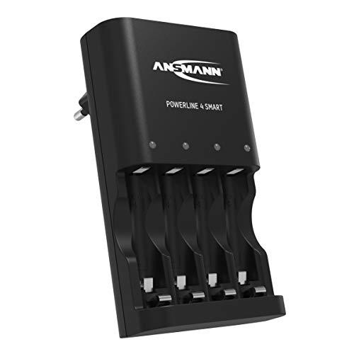 ANSMANN Batterieladegerät für 4x NiMH AA/AAA Akkus & wiederaufladbare Batterien - Automatik Akku Ladegerät mit Repair-Modus für Akkubatterien - Powerline 4 Smart Batterie Ladegerät