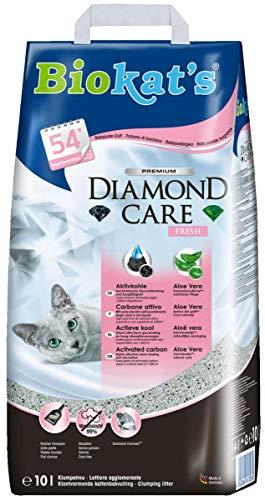 Biokat\'s Diamond Care Fresh mit Duft - Feine Katzenstreu mit Aktivkohle und Aloe Vera - 1 Sack (1 x 10 L)