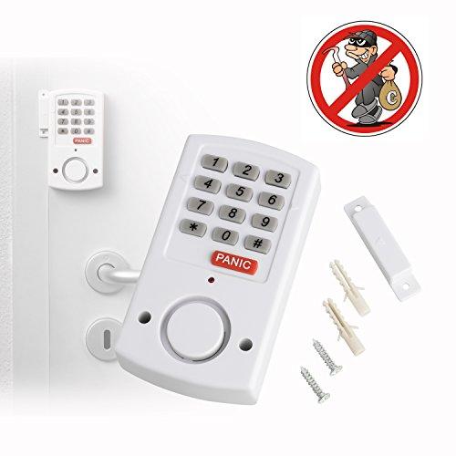 Tür- und Fensteralarm mit Panik- Funktion für Notfälle   kabellose Mobile Alarmanlage für Türen und Fenster   mit Magnetsensor und Tastatursteuerung   selbstklebend   lauter ca. 105 dB Alarmton
