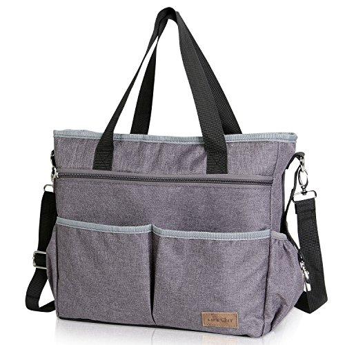 Lifewit Große Wickeltasche Mama Tasche Reisetasche mit Griff und Schultergurt, Multifunktional Schultertasche Tragetasche für Mutter, 39cm x 30cm x 17cm, Grau