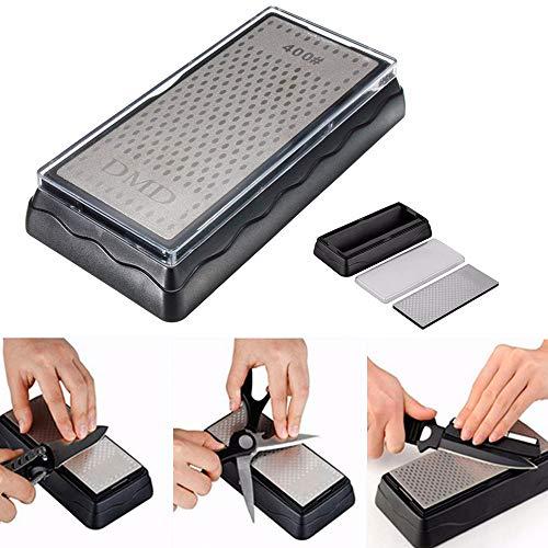 Kalolary Diamant Schleifstein 400/1000, Wetzstein Abziehstein Doppelseitiger Messerschärfer Wasserstein für Messer mit Rutschfestem Halter