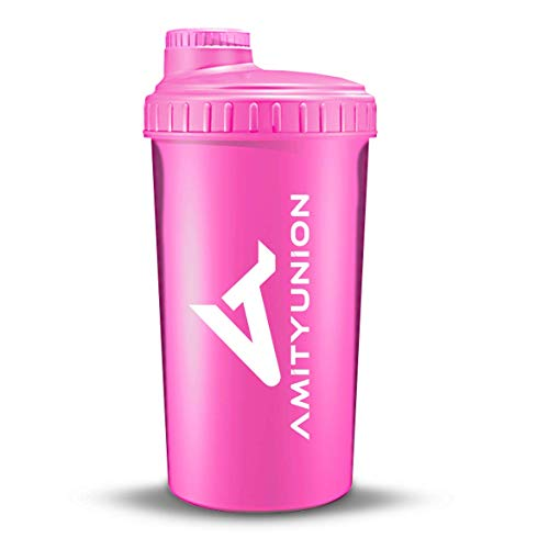 """Protein Shake Becher LADY """"Viisi"""" 700ml auslaufsicher und BPA frei - mit Sieb und Skala für cremige Whey Proteinpulver Shakes, Fitness Trinkflasche für Protein Isolat und Aroma & Flavor Pulver in Pink"""