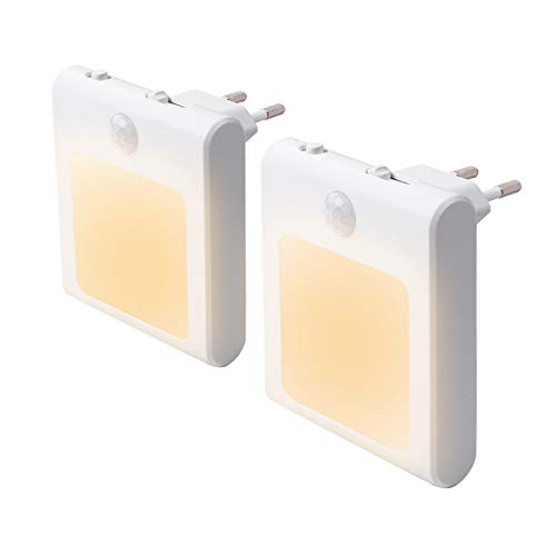 2 Stück LED Nachtlicht Steckdose mit Bewegungsmelder, Steckdosenlicht Helligkeit Stufenlos Einstellbar Orientierungslicht mit Auto, On, Off Schalter