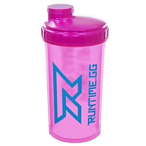 Runtime Protein-Shaker | Sport-Flasche für Nutrition und Fitness | 700ml Fassungsvermögen | mit Sieb - 100{114d8f9a4d4126187ca6549edc2f3c44d81b5a3af29315ae11dd28765d44458b} dicht | BPA-frei - inkl. Messskala (Neon Pink)