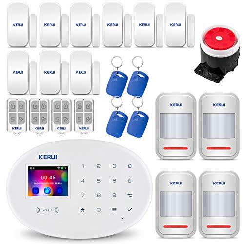 KERUI W20 GSM WiFi AP 2,4 GHz Funk Alarmanlage Komplettsystem DIY Kit Auto Dial/SMS/RFID/iOS Android App-Steuerung Push-Benachrichtigungen Intercom - Deutsch-sprachiges und App