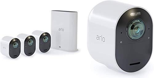 Arlo Ultra WLAN Überwachungskameras & Alarmanlage, 4K UHD, 4er Set, Smart Home, kabellos, Innen/Außen, Farbnachtsicht, 180 Grad Blickwinkel, 2-Wege Audio, Spotlight, Bewegungsmelder, (VMS5440) - Weiß