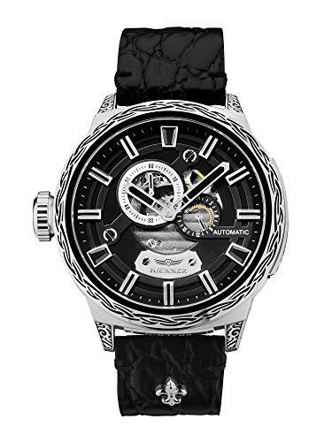 HÆMMER Black Hole Skeleton Automatikuhr Herren aus Edelstahl | Exklusiv limitierte Herrenuhr mit Kalbsleder Armband | Luxus-Uhr mit Inkgraved veredeltem Gehäuse