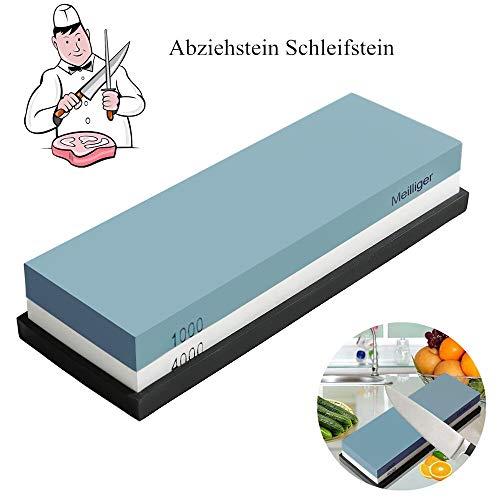 Meilliger Schleifstein Körnung 1000/4000 Abziehstein doppelseitiger Messerschleifer Messerschärfer Wetzstein Schleifhilfe Set für Messer mit Rutschfestem Silikonhalter