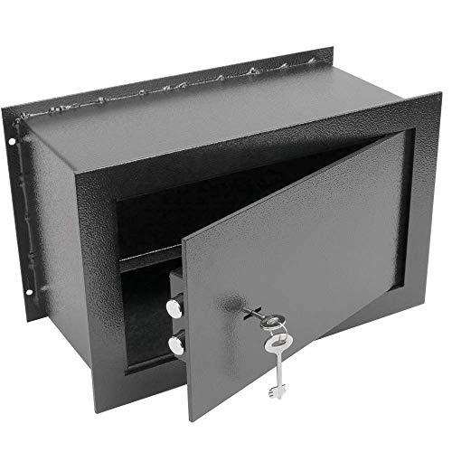 PrimeMatik - Versenkt Wandtresor Stahl mit Schlüssel Mauertresor Möbeltresor Wandeinbautresor 26x15x18cm schwarz
