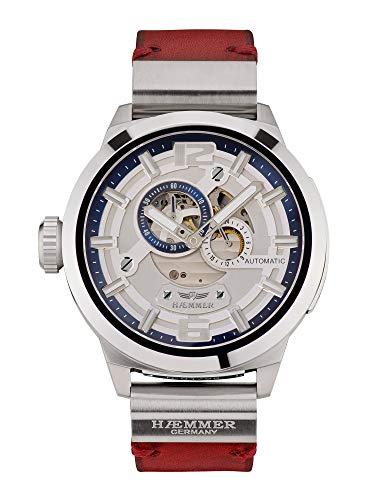 HÆMMER True Pleasure Skeleton Automatikuhr Herren aus Edelstahl | Exklusiv limitierte Herrenuhr mit Kalbsleder Armband | Luxus-Uhr mit Hochglanzzeiger in Silber - Weiß
