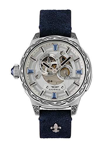 HÆMMER Blue Horizon Automatikuhr Damen aus Edelstahl | Exklusiv Limitierte Damenuhr mit Kalbsleder Armband Uhr mit Inkgraved veredeltem Gehäuse
