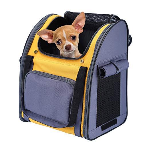 PETTOM Haustier Rucksack Haustiertragetasche Oxford Material Rucksack für Hund und Katzen, Verstellbarer und Faltbar Airline Genehmigt Hunde Rucksack für das Reisen und draussen (Grau gelb)
