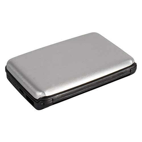 Kreditkartenetui aus Aluminium mit powerbank | blockiert RFID und NFC | Kartenhüllen aus Aluminium | Powerbank 1800mAh | 2 IN 1 Kartenetui und Powerbank … (Grau)