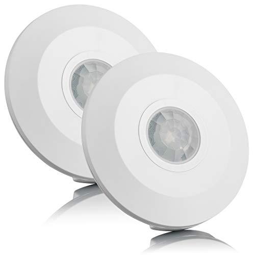 SEBSON® Bewegungsmelder Innen Aufputz, Decken Montage, programmierbar, Infrarot Sensor, Reichweite 6m/ 360°, Bewegungssensor LED geeignet, 2er Pack