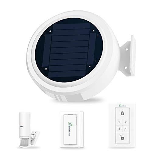 Solar GSM App Steuerung Drahtlos Funk Alarmanlage Sicherheitssystem Einbruchmeldeanlage Set für Wohnmobil Wohnwagen mit Sonnenalarm Host, PIR-Bewegungsmelder, Tür- und Fensterkontakt, Tastenfeld