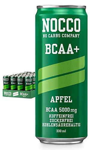 NOCCO BCAA+ Apfel 24 x 330ml inkl. Pfand Proteinreiches Getränk ohne Zucker No Carbs Company Kohlensäurehaltige Sportgetränke für Muskelleistung und -regeneration