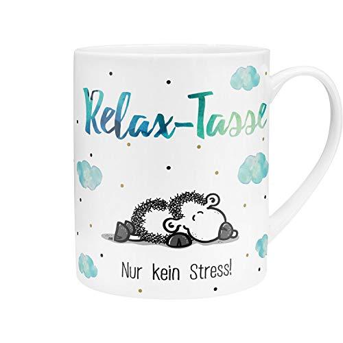 Sheepworld 45755 XL-Tasse mit Spruch Relax-Tasse, Porzellan, mit Geschenk-Banderole, Blau, 60 cl