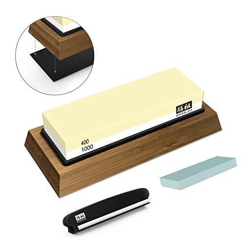 SHAN ZU Schleifstein Abziehstein Wetzstein für Professionell 2-in-1 Doppelseitiger Messerschärfer, Körnung 400/1000 mit rutschfestem Silikonhalte für Küche Messer