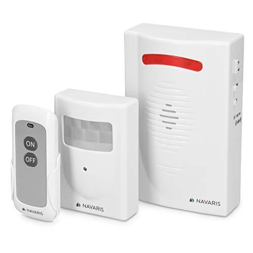 Navaris Kabelloses Bewegungsmelder Auffahrt Alarmsystem - mit Montagematerial und Fernbedienung - Alarm Einbruchschutz Set - Garage Funk Alarmanlage