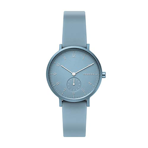 Skagen Unisex Erwachsene Analog Quarz Uhr mit Silikon Armband SKW2764