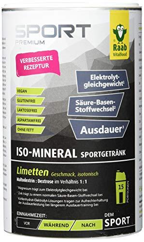 Raab Vitalfood Iso Mineral Limette, isotonisches Getränk, Getränke-Pulver, leicht löslich, isotonisch, vegan, glutenfrei, mit Acerola 1er Pack (700 g Dose)