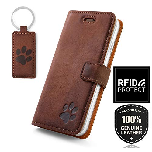 SURAZO Handy Hülle Für Samsung Galaxy S10 Plus - Pfote - TV RFID Nubuk Nussbraun - Ölleder Premium - Vintage Wallet Case